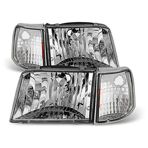ACANII - For [4PC] 1993-1997 Ford Ranger Headlights Corner Signal Light Headlamps Replacement Driver + Passenger Side