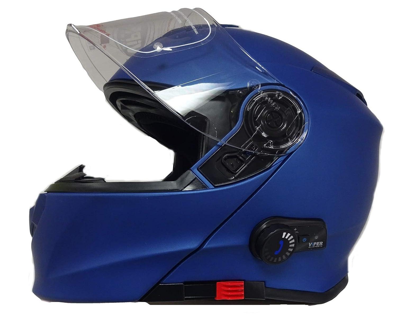 Motorrad Bluetooth KlappHelme VIPER V171 BL3.0 MotorradHelm Flip Up Modularhelm Matt Blau, S
