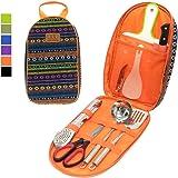 Gold Armour - Organizador de utensilios de cocina portátil para acampada, utensilios de cocina de acero inoxidable, kit de viaje para exteriores