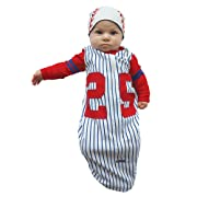 Sozo Baby Boys' Baseball Bunting and Cap Set, Blue/White/Red, 0-6 Months