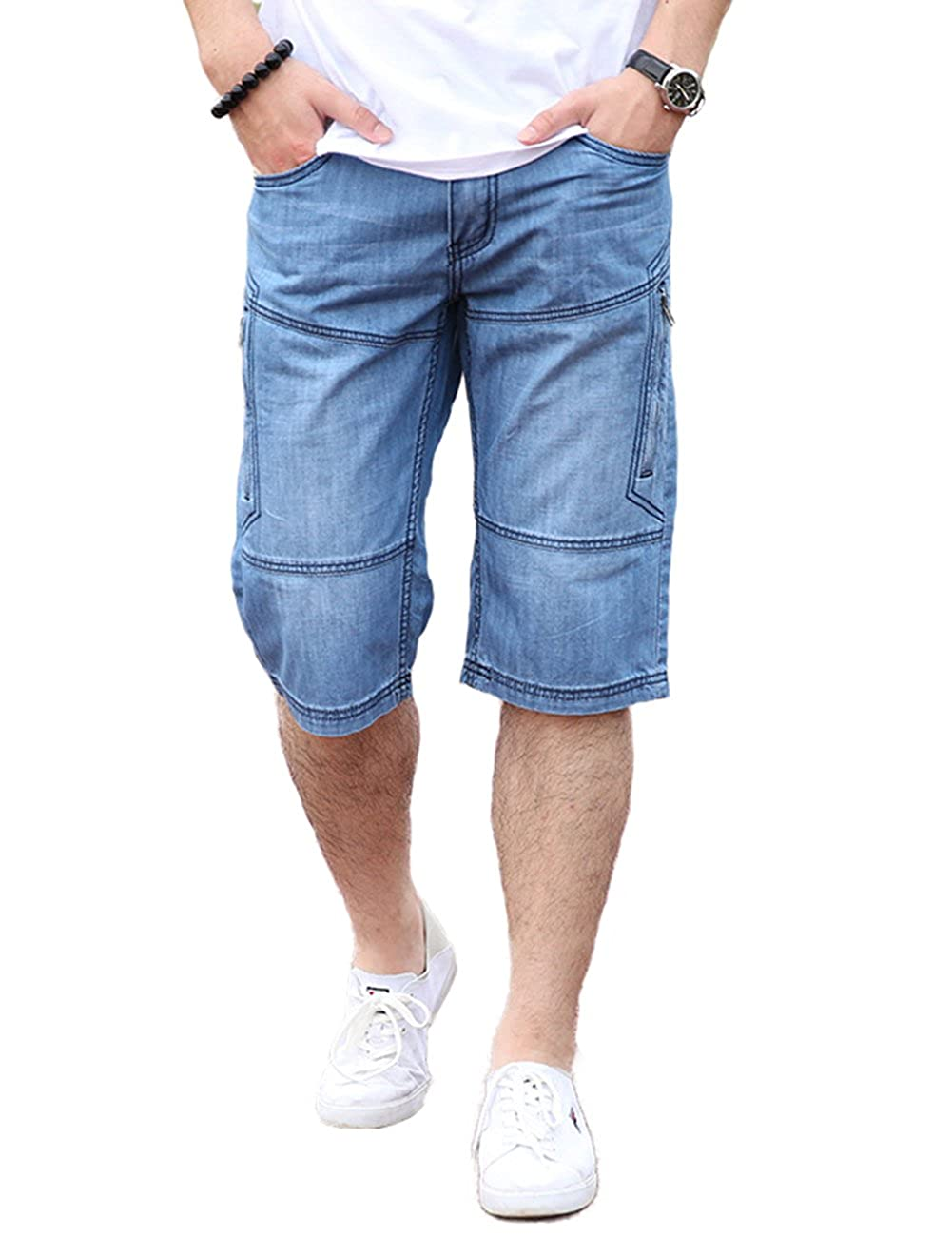 DSDZ Mens Casual Cargo Patchwork Blue Denim Jeans Shorts With Zippers