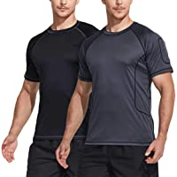 TSLA Men's (Pack of 1, 2) Rash Guard Swim Shirts, UPF 50+ Quick Dry Mid/Short Sleeve Swimming Shirt, UV/SPF Water Surf…