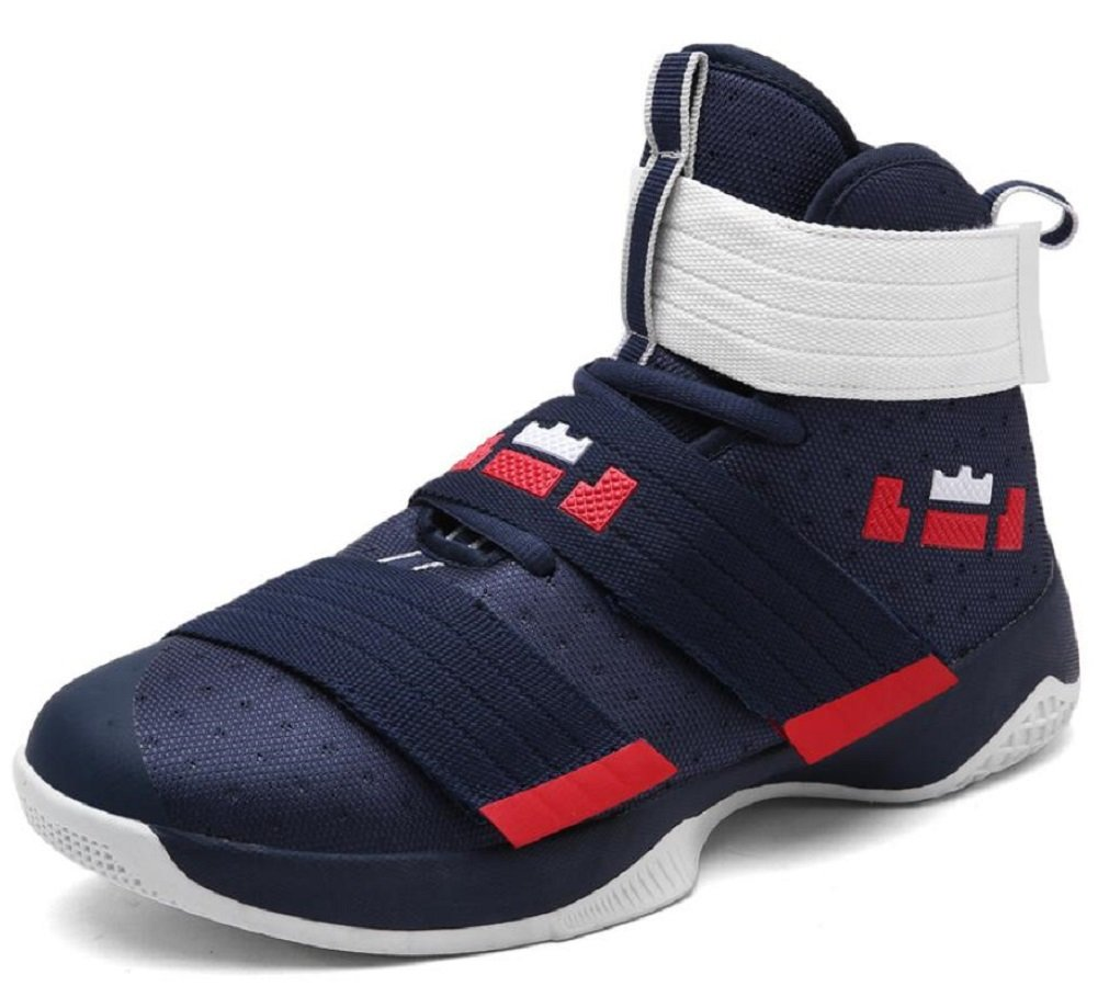 JiYe Men's Basketball Shoes for Women's Performance Sports Velcro Sneakers by B073Y62Q79 8.5 US-Women/7 US-Men/Foot Length 25CM|Blue Red