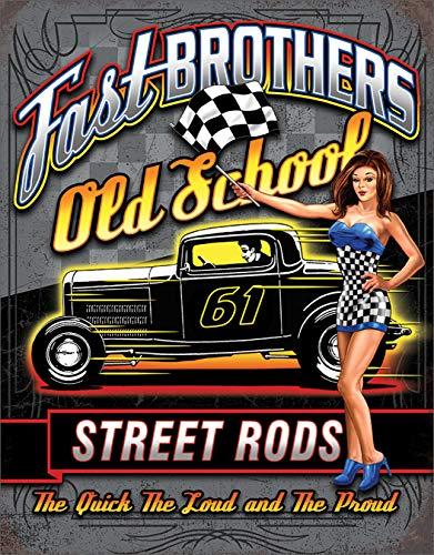 - Desperate Enterprises Fast Brothers Street Rods Tin Sign, 12.5