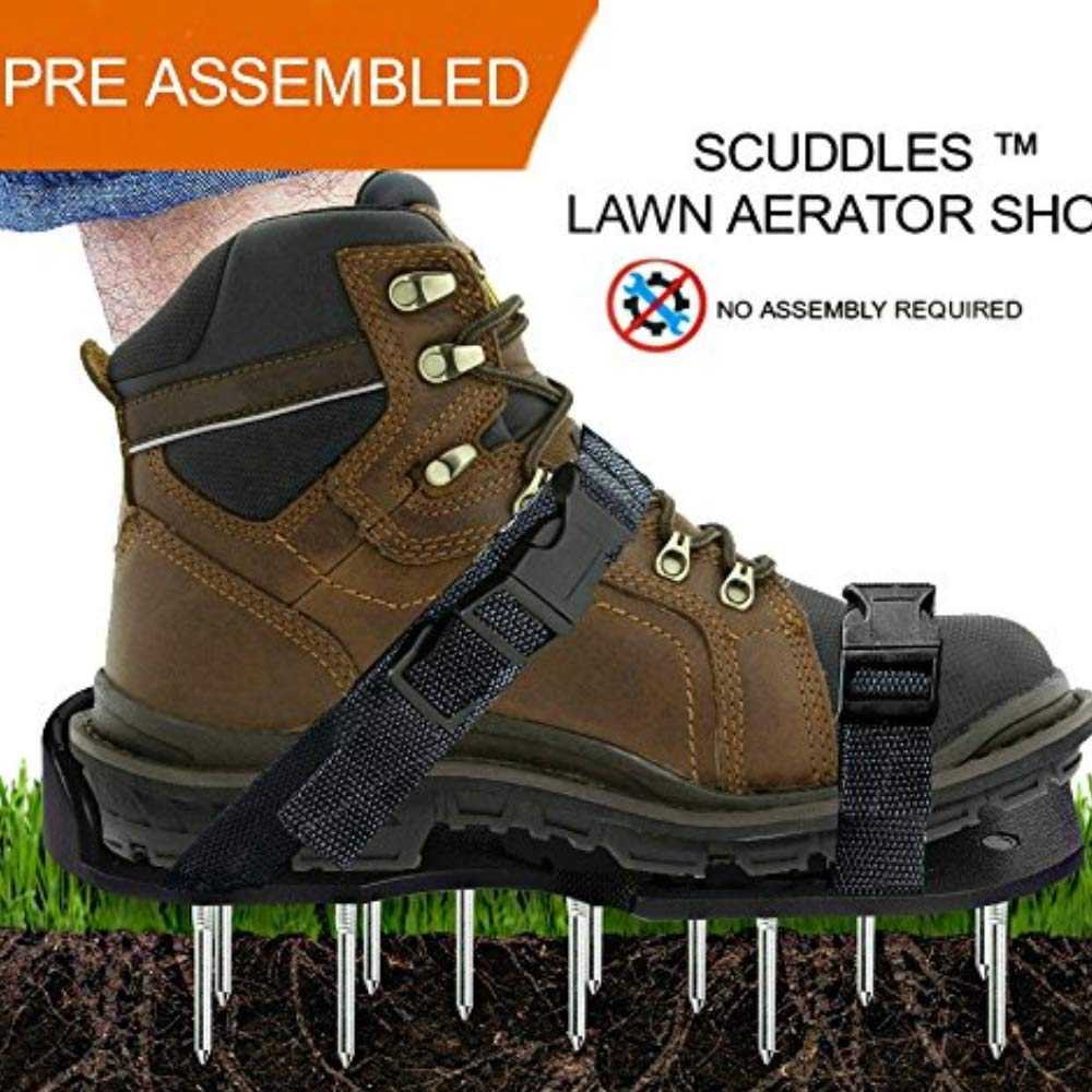 Lawn Aerator Shoes, Heavy Duty Spike Aerating Sandals Soil Adjustable Straps - Sturdy Universal Size, Men Women NO Assembly Needed Use Straight Out Box (Black) by Scuddles