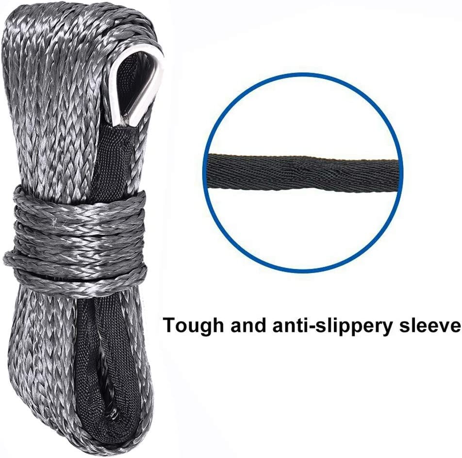 Ready Stock Fast from Our US Warehouse Synthetic Winch Rope 1//4x 50 Winch Rope Line10000LBS for 4WD SUV Pickup