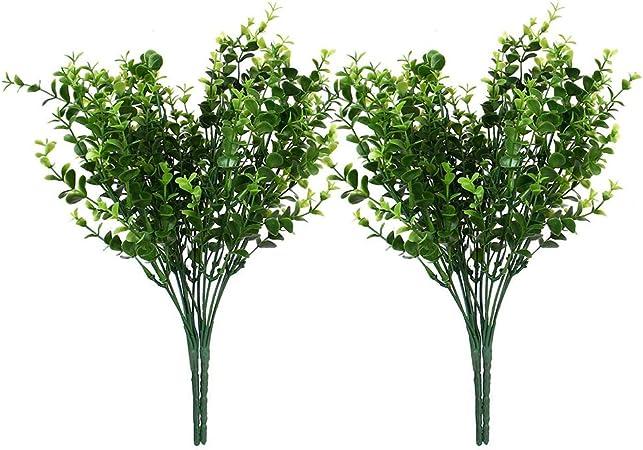 aoory Planta Artificial plástico sintético para Exterior, Planta Falsa de eucalipto para decoración del hogar, jardín, Boda, 4 Unidades: Amazon.es: Hogar