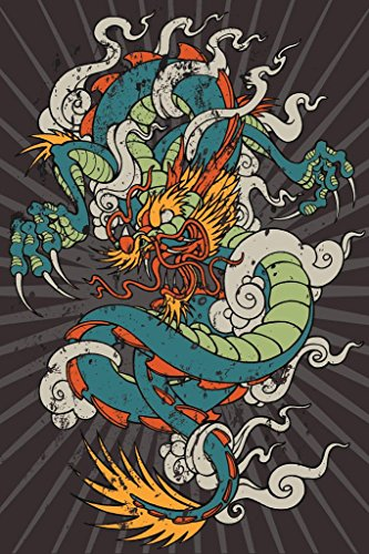 Poster Foundry Furious Dragon Dragon Tattoo Print Stretched Canvas Wall Art 16x24 inch