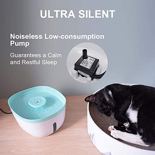 Amazon.com: Ultra-Silent Pet Water Fountain, Automatic Cat Water Fountain with Charcoal Filter, LED Cats Dogs Water Dispenser - 2.2L: Health & Personal Care