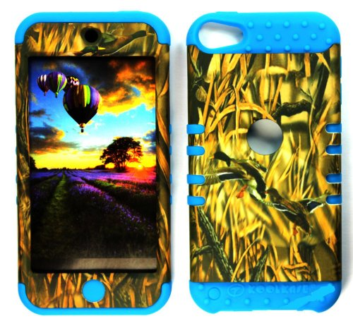 CellPhone Trendz Hybrid 2 in 1 Case Hard Cover Faceplate Skin Blue Silicone and Camo Mossy Hunter Flying Duck Snap Protector for Apple iPod iTouch 5 (5th Generation)