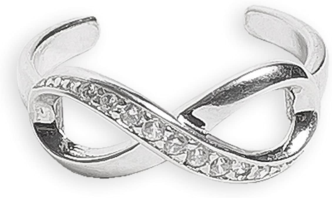 JewelryWeb Solid 925 Sterling Silver Adjustable Infinity Ribbon Cubic Zirconia Toe Ring 6mmx15mm