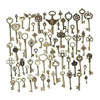 KING DO WAY 69 piezas de bronce antiguo Llaves de esqueleto de la vendimia Charm Set DIY Accesorios hechos a mano Collar Colgantes Fabricación de joyas Suministros para la boda Decoración Cumpleaños y fiesta de Navidad