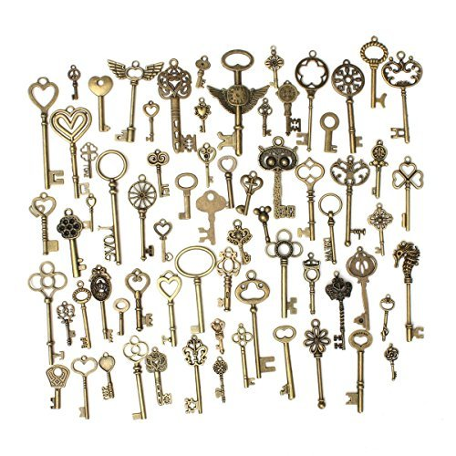KING DO WAY 69pcs Antique Bronze Vintage Skeleton Keys Charm Set DIY Handmade Accessories Necklace Pendants Jewelry Making Supplies for Wedding Decoration Birthday and Christmas Party by KING DO WAY