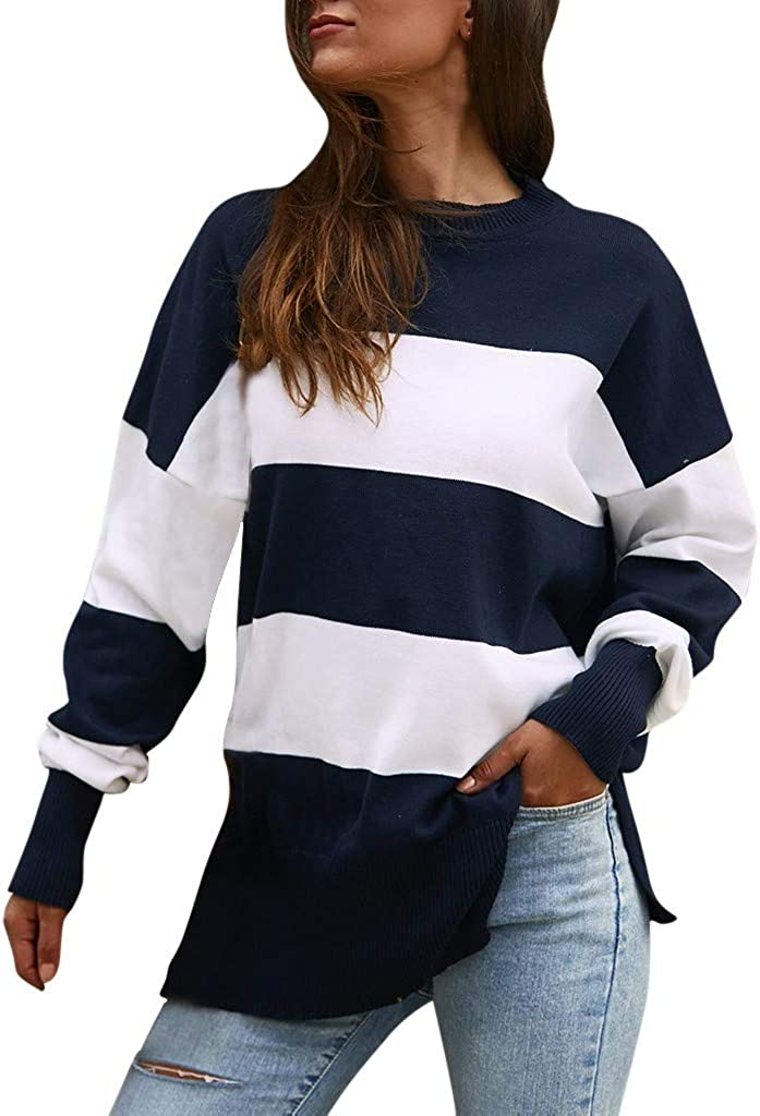 Onegirl Fashion Stripe O-Neck Thin Knitting Sweater for Women Loose Long Sleeve Sweater Shirts Tunic Tops and Blouses