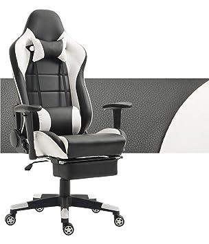 meilleur service bbf5a 61efc Tiigo Chaise Gamer Fauteuil de Bureau Chaise Ordinateur Hauteur réglable  (Noir/Blanc,Repose-Pieds)