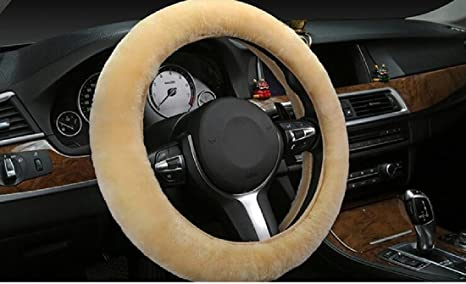Faux Wool High-elastic Steering Wheel Cover Fits Tight On Warm Hands Winter,