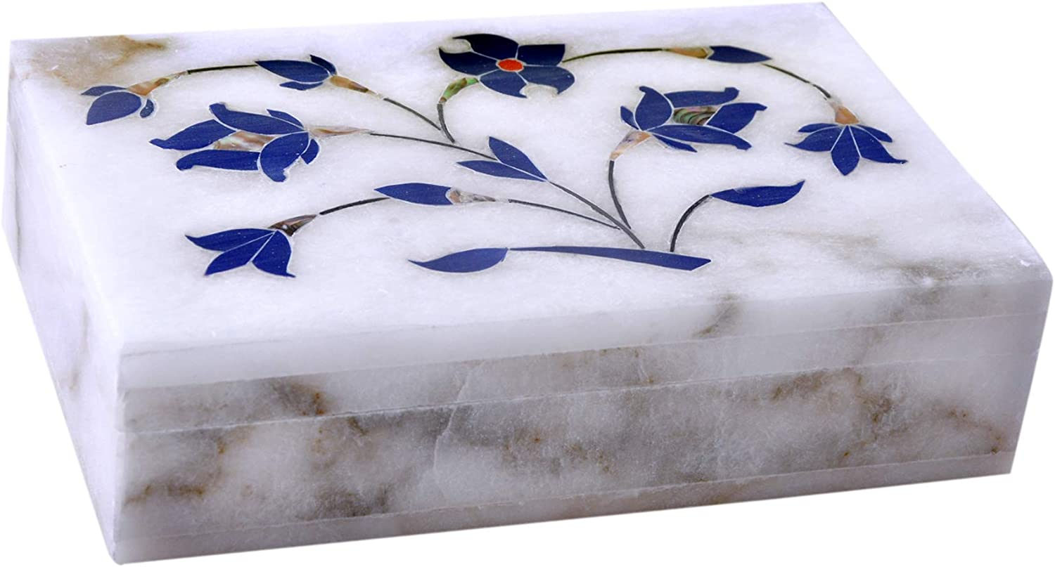 Hashcart Marble Floral Engraved Jewelry Box - Handmade Jewelry Box for jewelery Storage Oganizer - Designer Boxes