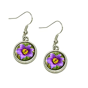 pasque flower south dakota state flower dangling drop charm earrings