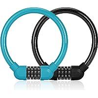 2 Pzs Candado de Bicicleta con Código, Candado Bicicleta U con Cable, Negro y Azul, Candados Antirrobo Bicicletas de 4…