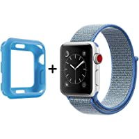 SYTHOO Correa Loop Deportiva de Nylon Tejido para Apple Watch Series 38mm 3/2/1 (Azul Laguna, 42mm)
