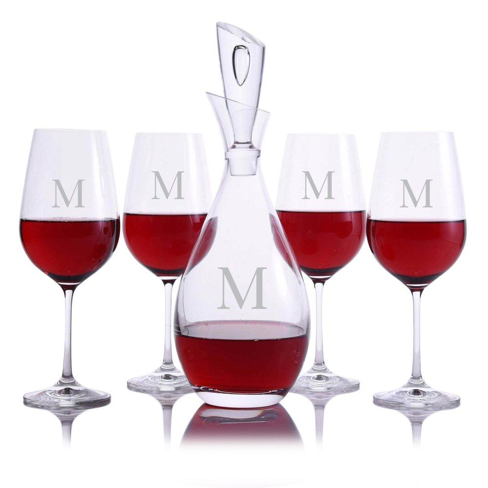 Custom Crystal Tear Drop Wine Decanter 5pc. Stemmed Set Engraved & Monogrammed by Crystalize (Custom 5 Piece Set)