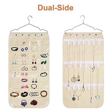 Amazon.com: cuteadoy Hanging Jewelry Organizer, 40 Pockets ...