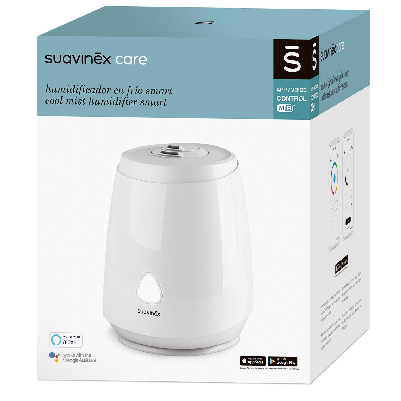 aromath/érapie silencieux ultrasonique /à vapeur froide compatible avec Alexa et Google Assistant contr/ôle avec application mobile Suavinex SMART Humidificateur pour b/éb/é veilleuse LED