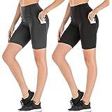 8'' High Waist Biker Shorts for Women-Workout Yoga Shorts Running Summer Soft Pants with Pockets