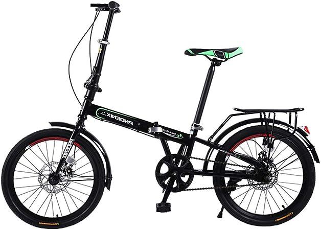 Bicicleta plegable Bicicleta portátil para adultos Bicicleta de velocidad variable de 20 pulgadas Coche de cercanías para hombres y mujeres carretera para adultos (Color : Black , Size : 20in) : Amazon.es: Hogar