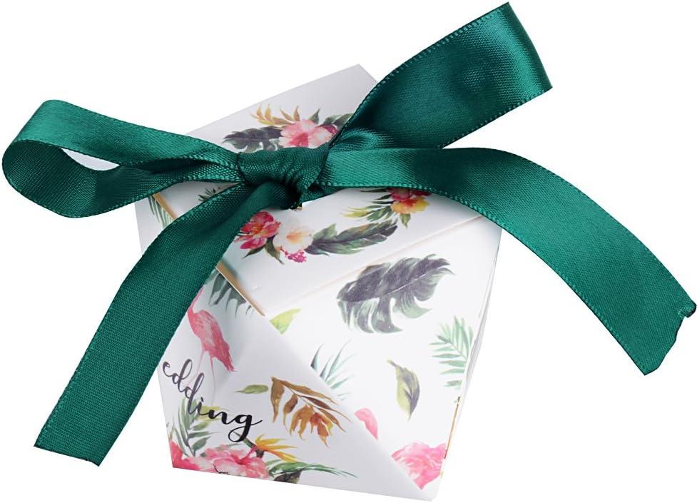 50piezas(5.5*5.5*6cm) Cajas de Boda Bautizo Regalo Caramelos Bombones Chuches Peladillas Recuerdo Fiesta Cumpleaños Flamenco y Hoja Tropical impreso + Cinta: Amazon.es: Hogar