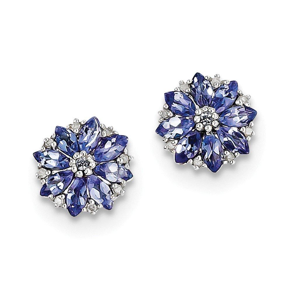 Sterling Silver Rhodium Plated Diamond & Tanzanite Post Earrings