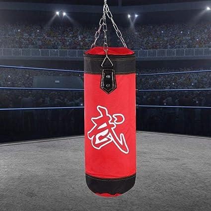 Vbest life El Nuevo Saco de Arena de Boxeo Colgante de Lienzo Boxeo Saco de Arena Entrenamiento Gancho de Boxeo Saco de Arena Patada Modelo Hueco con Gancho de Cadena de Hierro Hebilla de Seguridad