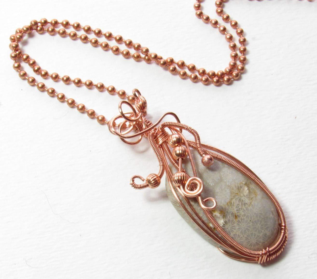 Copper Chain with Tornado Wrapped Calcite Pendant
