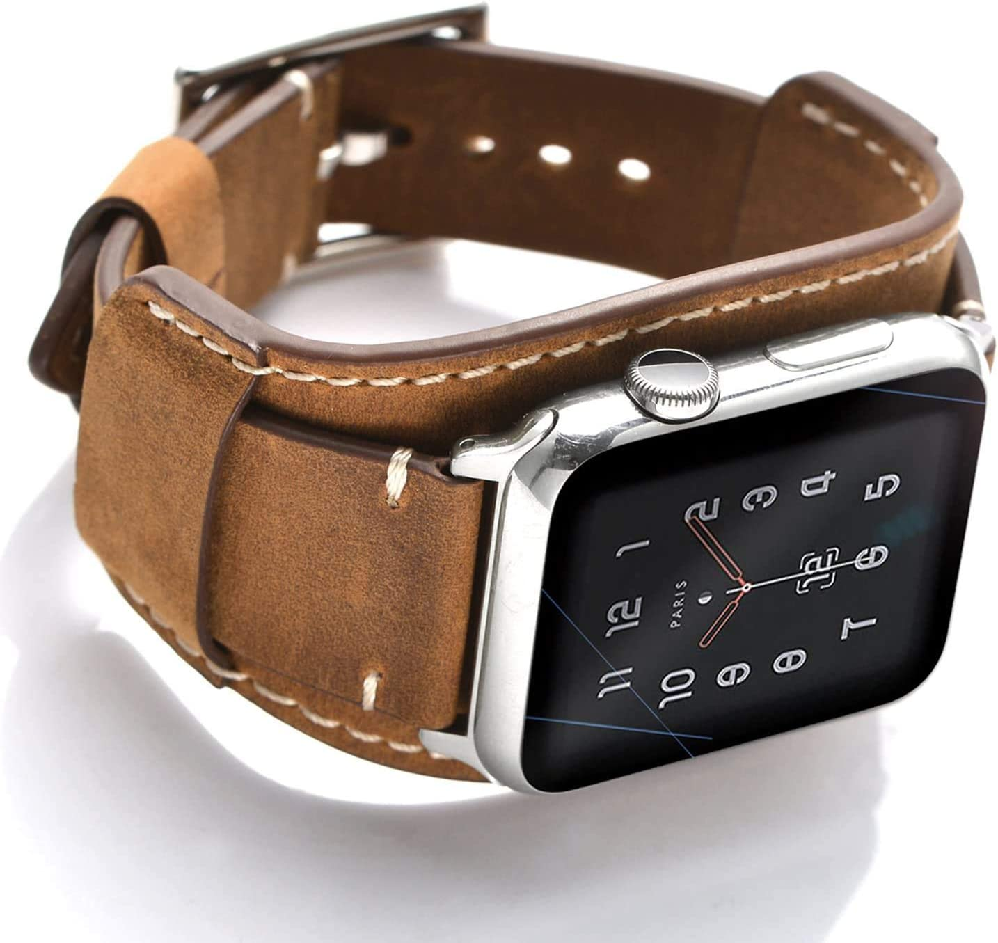 Jamcl Compatible with Apple Watch Band 44 mm 42 mm, Genuine Leather Vintage Strap for iwatch Series 5/4/3/2/1 Men Women Cuff Sport Bracelet with Stainless Steel Metal Buckle (Brown, 44/42mm)