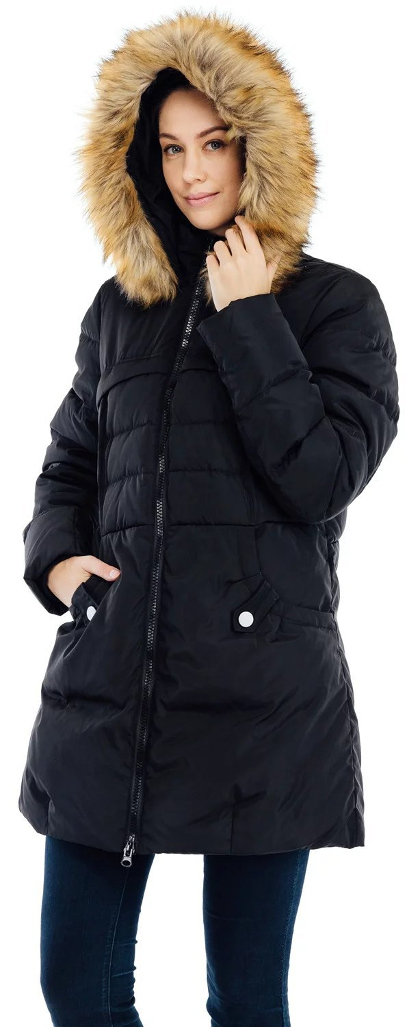 Valuker Women's Down Coat with Fur Hood 90D Parka Puffer Jacket 57-Black-XL by Valuker (Image #2)