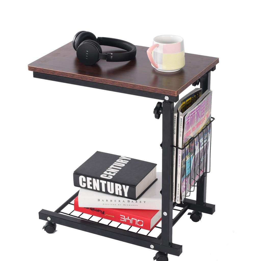 or CA. Shipping From NJ Transser Portable C-shape Laptop Rolling Cart Standing Table Height Adjustable Bedside Mobile Laptop Computer Stand Desk Coffee Table with Lockable Wheels