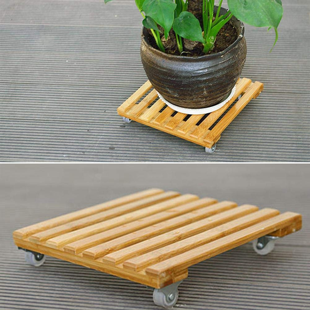 Lembeauty Wooden Plant Pot Stand With Wheels Square Plant Trolley Plant Pot Mover Flower Pot Rack Holder Indoor Outdoor Plant Saucers Trolley Caster