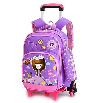 Kccy Elegante Niña Mochila con Ruedas - Durable Rolling Daypack Bolsa para la Escuela con Bolso De La Pluma para Estudiantes de Primaria (6 Ruedas),A: ...