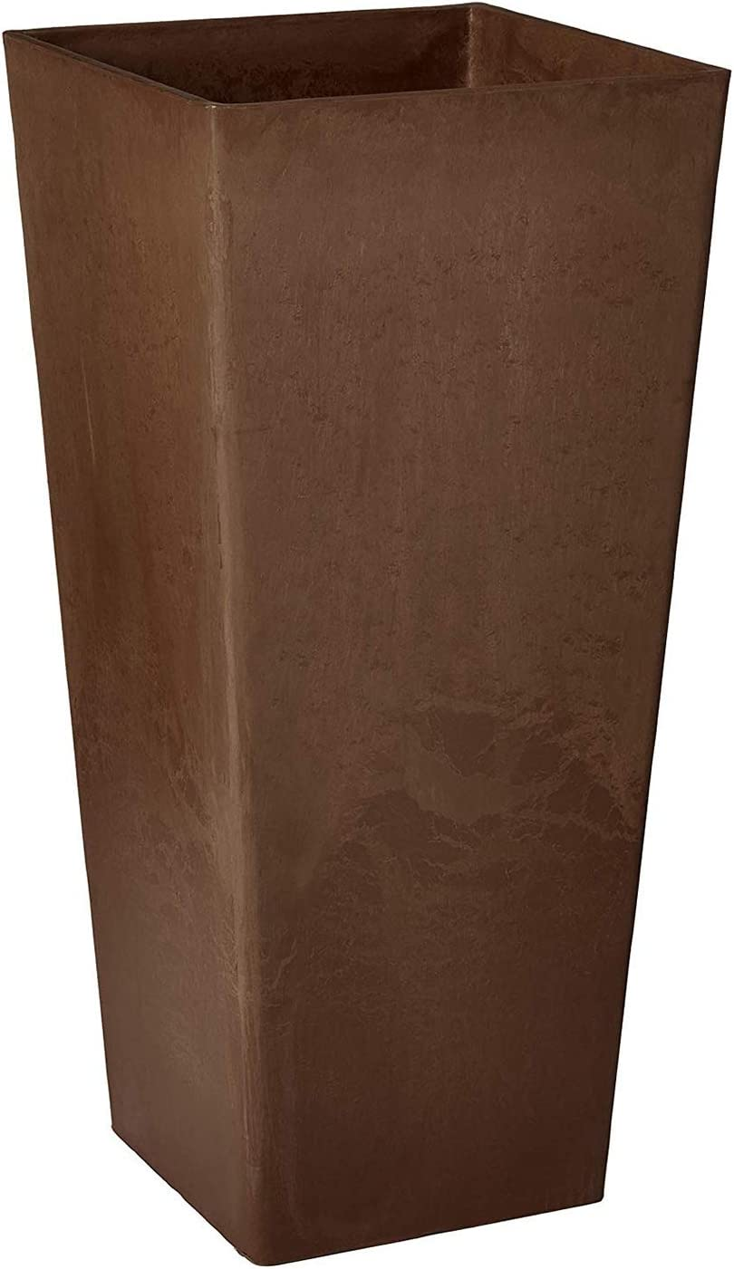 Arcadia Garden Products PSW FS32C Contempo Tall Square Planter, 13 by 13 by 28-Inch, Chocolate