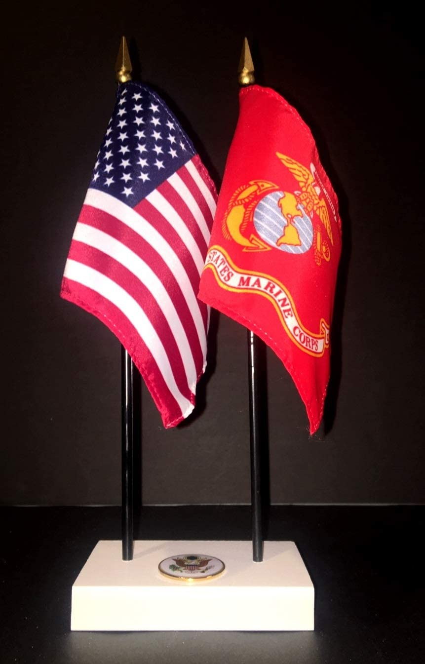 """Made in The USA. 1 American and 1 United States Marine Corps Rayon 4""""x6"""" Office Desk & Little Table Flag Executive Set, Includes a 2-Hole White ArcticSno Flag Base with a USA Great Seal and Two Flags"""