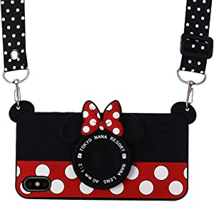 iPhone 8 Plus Case with Lanyard, Shinymore 3D Cute Soft Silicone Cartoon Minnie Mouse Camera Design Case for iPhone 7 Plus/8 Plus
