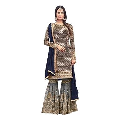 2e98f2dc3abe5a Amazon.com  ETHNIC EMPORIUM Designer Party Wear Garara Palazzo Salwar  Kameez Pant Custom to Measure Indian Ethnic Wear HIT 2782  Clothing