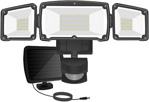 AOBISI Solar Motion Sensor Lights Outdoor, 1600LM 6000K IP65 Waterproof Outdoor Flood Security Lighting 3 Adjustable Heads for Entryways, Patio, Yard Black