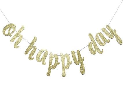 Amazon.com: Oh Feliz Día oro purpurina banner-birthday ...