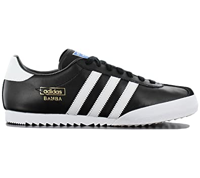 best sneakers e24f5 b572d adidas Originals Bamba Mens Other Leather Material Trainers Black White   Amazon.co.uk  Clothing