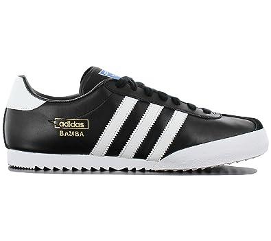 sports shoes 2547d 4c6fb adidas Bamba Black Textile Leather Indoor Soccer Shoes Trainers - Black  White - UK Sizes 6-12  Amazon.co.uk  Clothing
