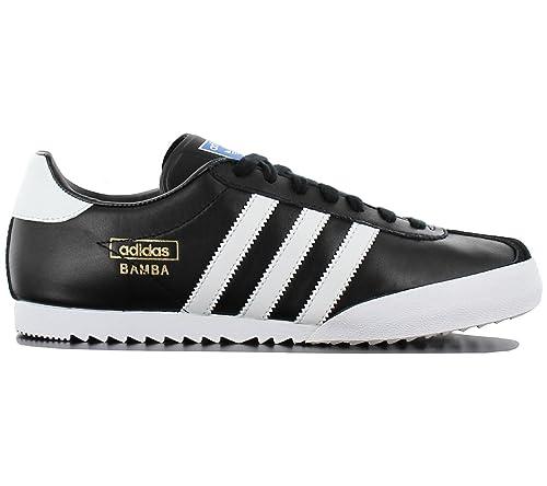 adidas Bamba Negro Textil Piel de Interior de fútbol Zapatos Zapatillas -  Negro Blanco - UK tamaños 6 - 12  Amazon.es  Zapatos y complementos c4063411f41d3