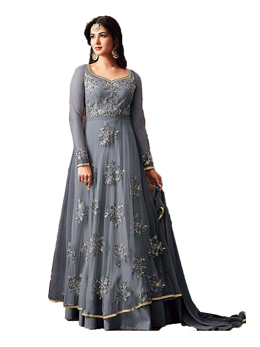 Indian E Fashion Women S Net Salwar Suit Dress Material Juligrey Iefsuitm15 Grey Free Size Amazon In Clothing Accessories