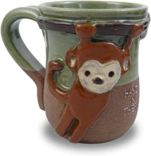 product image for Hang in There Monkey Mug - American Handmade Stoneware Pottery, 14-oz