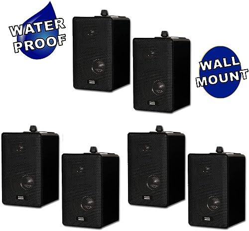 Acoustic Audio 251B Indoor Outdoor 3 Way Speakers 1200 Watt Black 3 Pair Pack 251B-3Pr